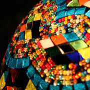 Hanging Mosaic Dome Lamp in Aqua & MultiColors, Open Bottom