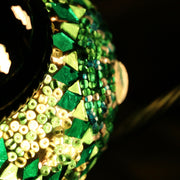 Mosaic Table Lamp in Green, Swan Neck