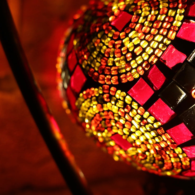 Mosaic Table Lamp in Red & Orange, 5 Styles Available