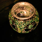 Mosaic Candleholder in Greens