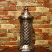 Table or Floor Lamp in Brushed Nickel & Glass