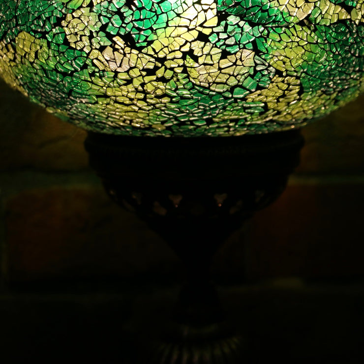 Crackle Glass Table Lamp in Green, 3 Styles Available, Large