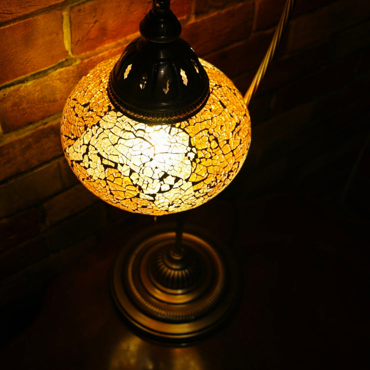 Crackle Glass Table Lamp in Amber, 5 Styles Available