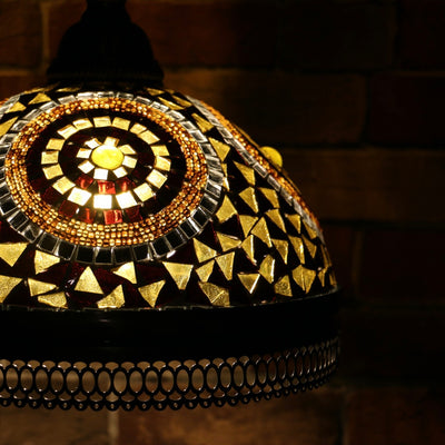 Hanging Mosaic Dome Lamp in Amber, Open Bottom