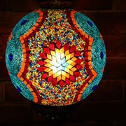 Mosaic Table or Floor Lamp in Red, Orange, Yellow, & Blue