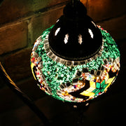 Mosaic Table Lamp in Green & MultiColors, Swan Neck