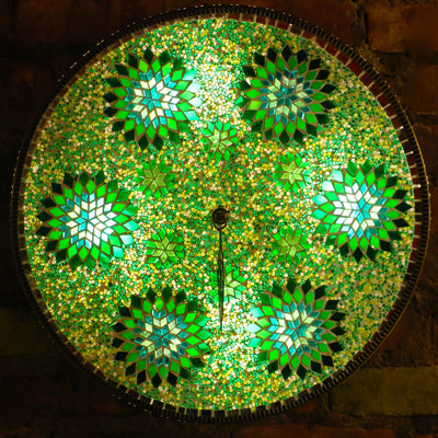 Mosaic Flush Mount for Ceiling or Wall Lamp in Shades of Green