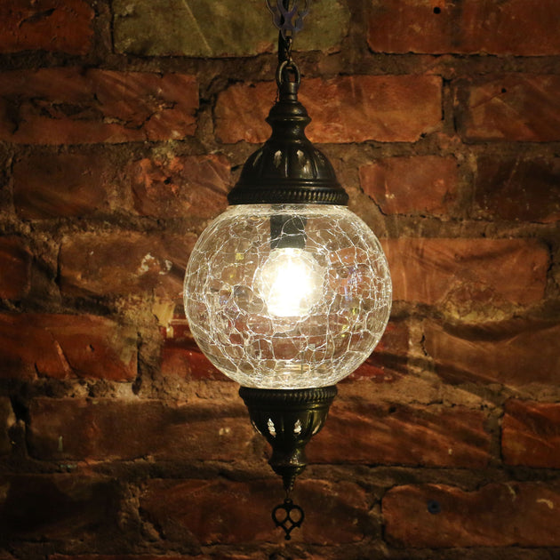 Crackle Glass Hanging Lamp Clear Globe Sets Available Mosaic