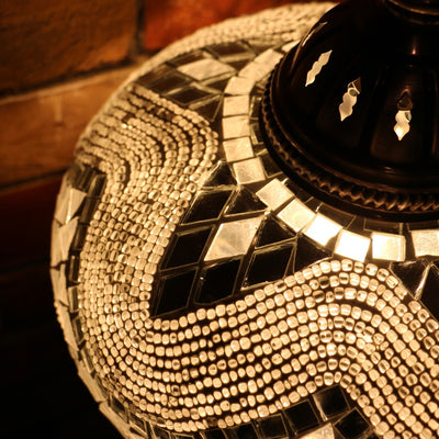 Mosaic Table or Floor Lamp in White