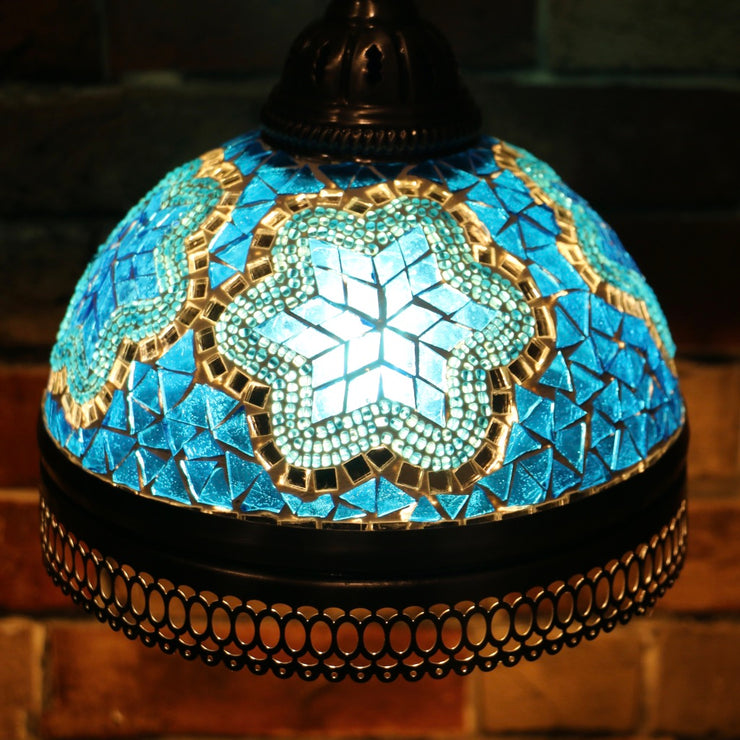 Hanging Mosaic Dome Lamp in Aqua Blue, Open Bottom
