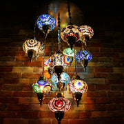 Thirteen Globe Mosaic Chandelier in Multiple Colored Globes - CUSTOM COLORS AVAILABLE