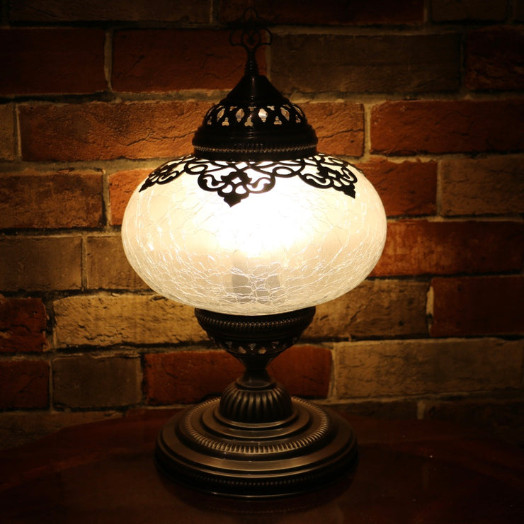 Crackle Glass Table Lamp, Frosted Laser-Cut Detail, 3 Styles Available