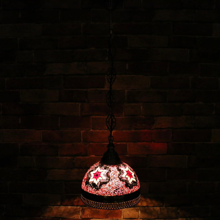 Hanging Mosaic Dome Lamp in Blush Tones, Open Bottom