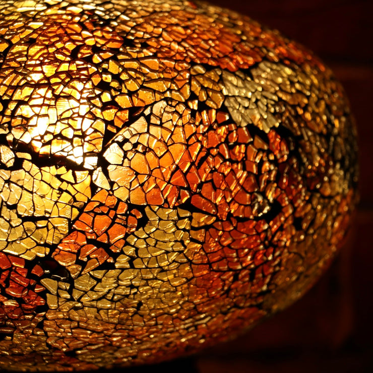 Crackle Glass Table Lamp in Dark Amber, 3 Styles Available, Large