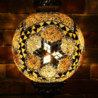 Mosaic Table or Floor Lamp in Amber Tones