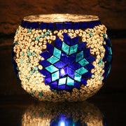 Mosaic Candleholder in Shades of Blue & White