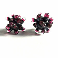 Grey and Fuchsia Anemone Earrings