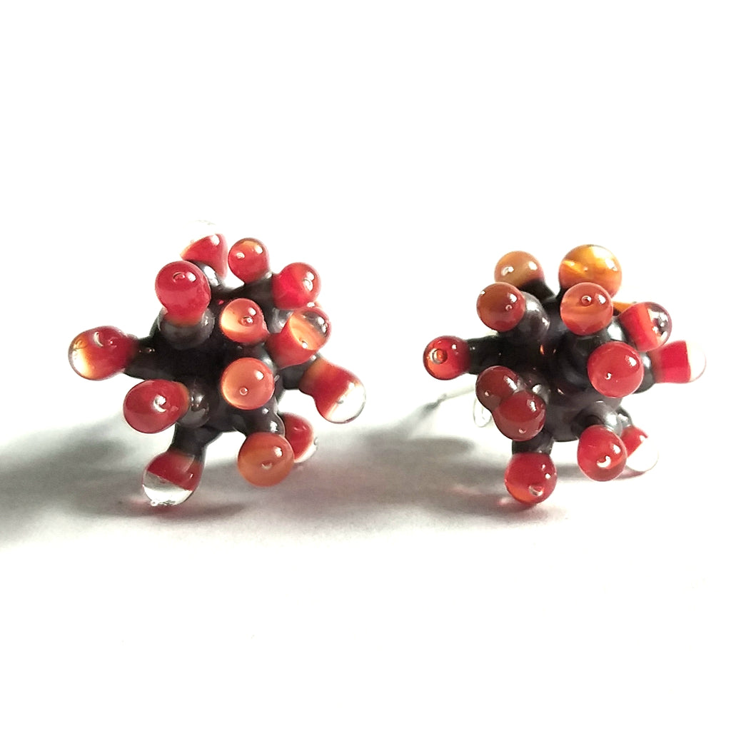Grey and Orange Anemone Earrings