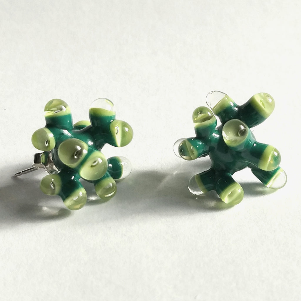 Green Anemone Earrings