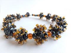 Grey and Amber Anemone Necklace