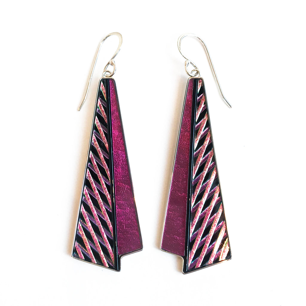 Pink 3-D Crosshatch Earrings