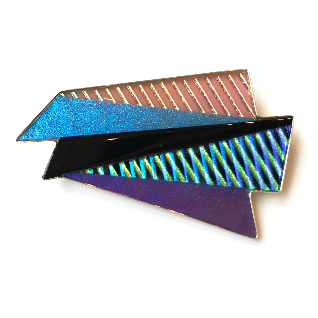 Twist + Kick Crosshatch Pin in Pink, Purple, Blue