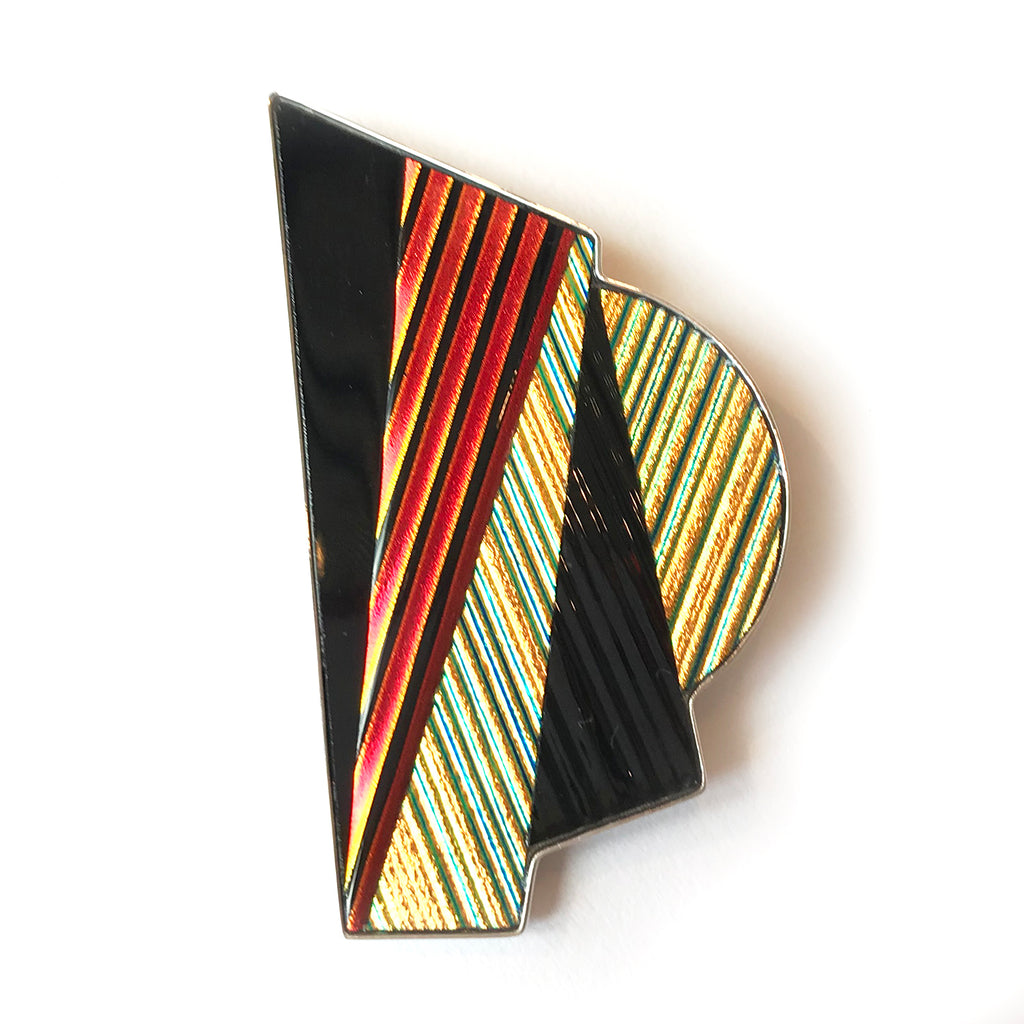Dichroic Geometry Pin in Red, Black, Gold