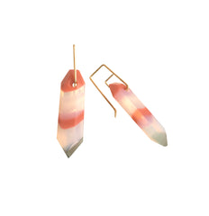 Pink Banded Strattite Dangle Earrings