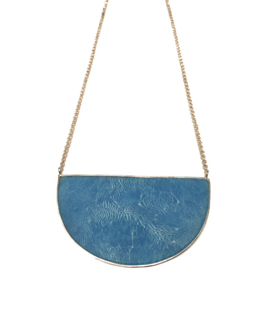 Cerulean Crescent Pendant Necklace