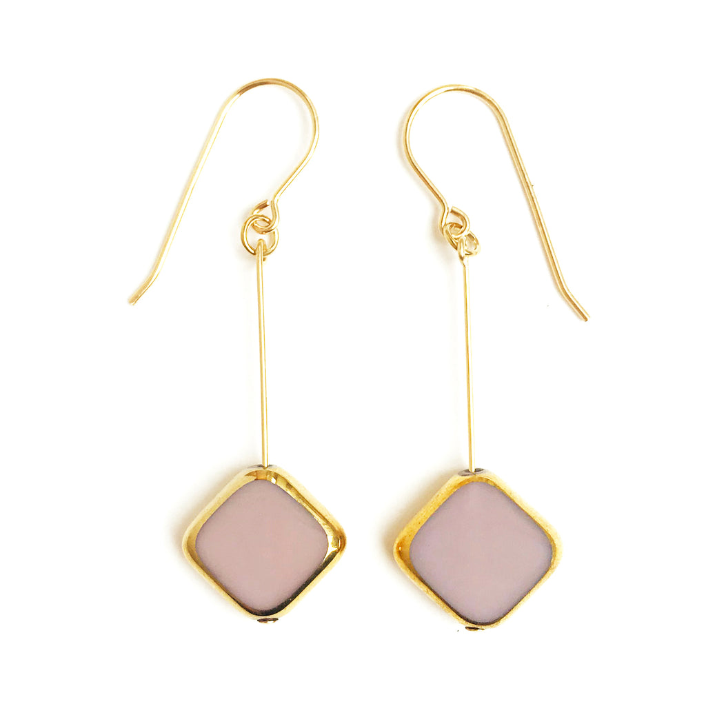 Diagonal Mauve Square Drop Earrings