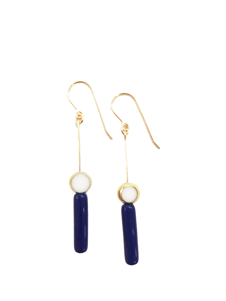 Blue Cylinder w/ White Circle Earrings