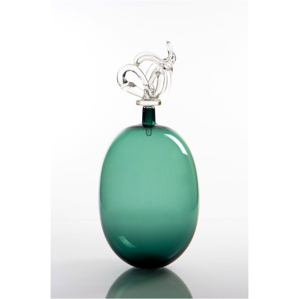 Medium Teal Vase with Stopper