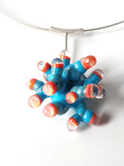 Turquoise and Orange Anemone Pendant Necklace