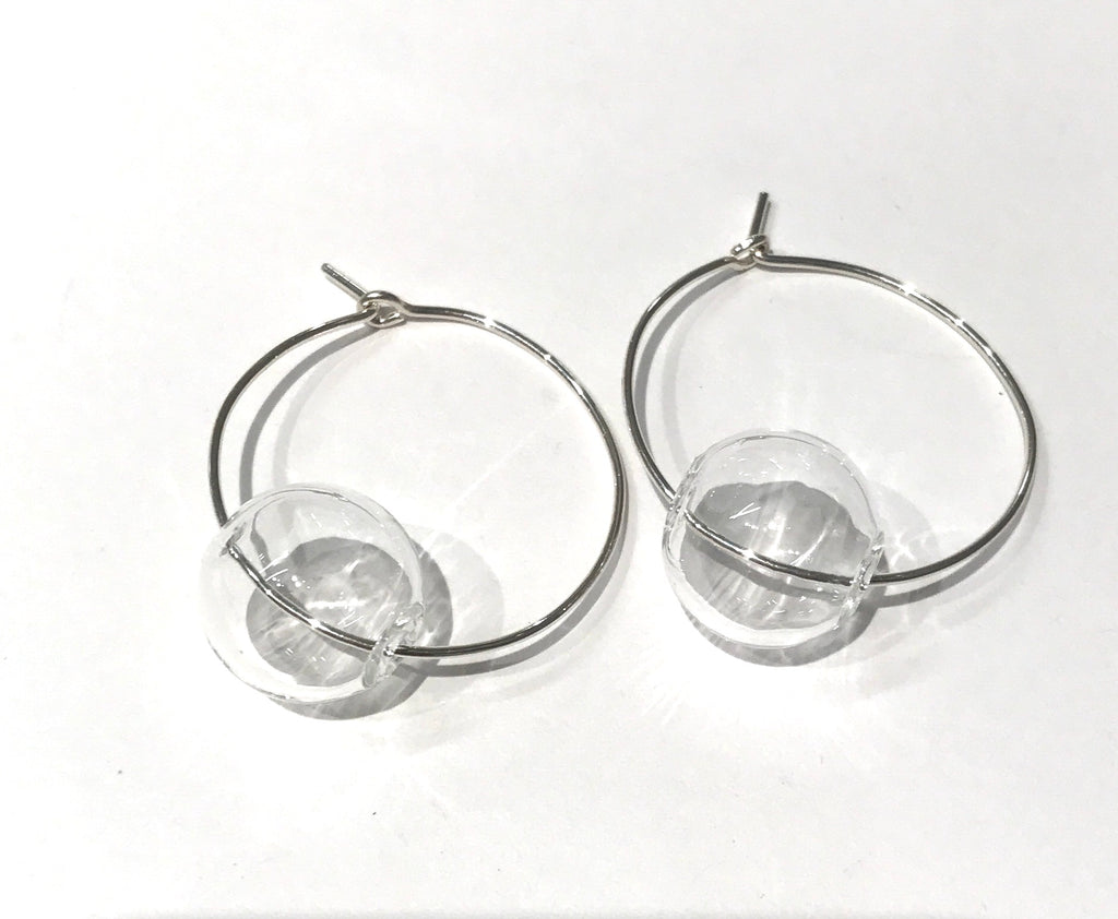 Silver Orbit Hoops