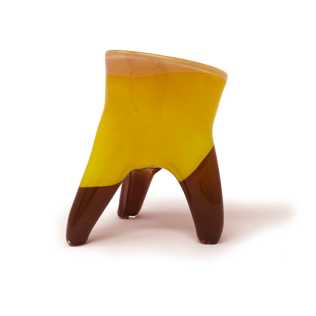Legged Vessel in Vanilla, Yellow, and Brown