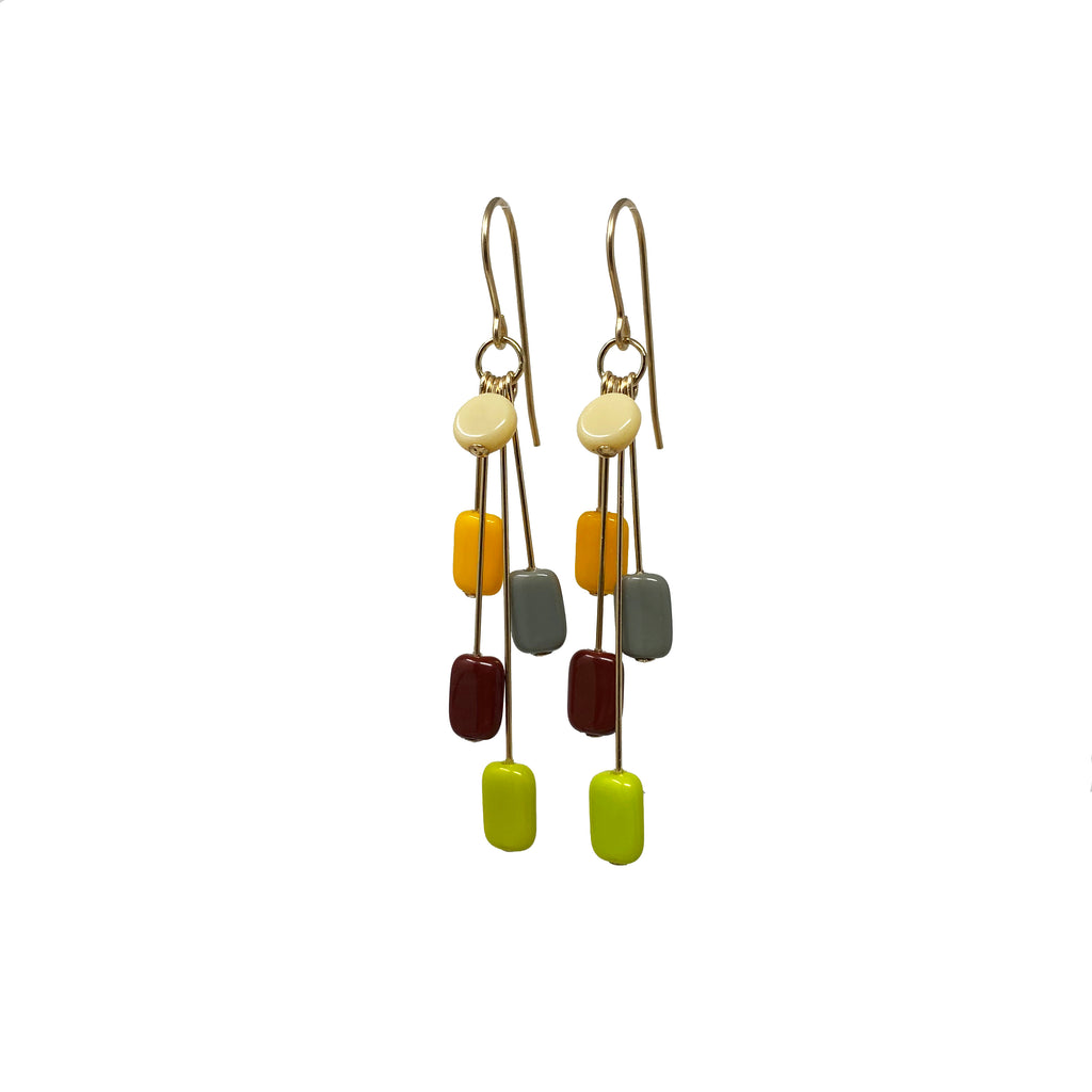 Autumn Rectangle Cluster Earrings
