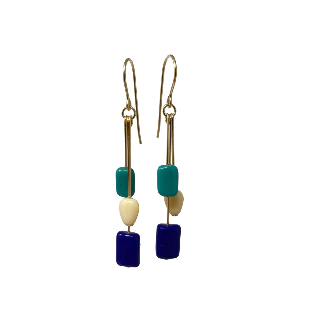 Blue Rectangle Cluster Earrings