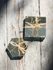 Set of Four Square Vintage Mirror Coasters