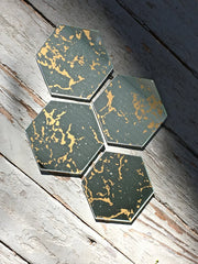 Set of Four Hexagon Vintage Mirror Coasters