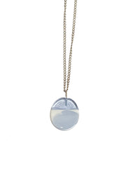 Large Disc Necklace in Silver