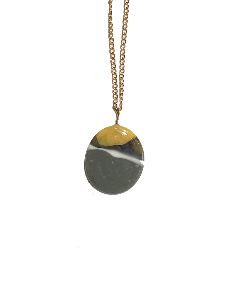 Large Disc Necklace in Goldfill