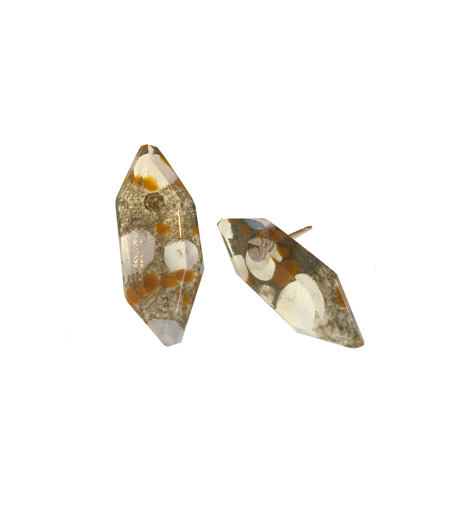 Spotted Quartz Post Earrings