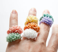 Opaque Pastel Glass Cluster Ring