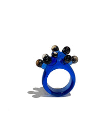 Blue and Opalescent Black Anemone Ring