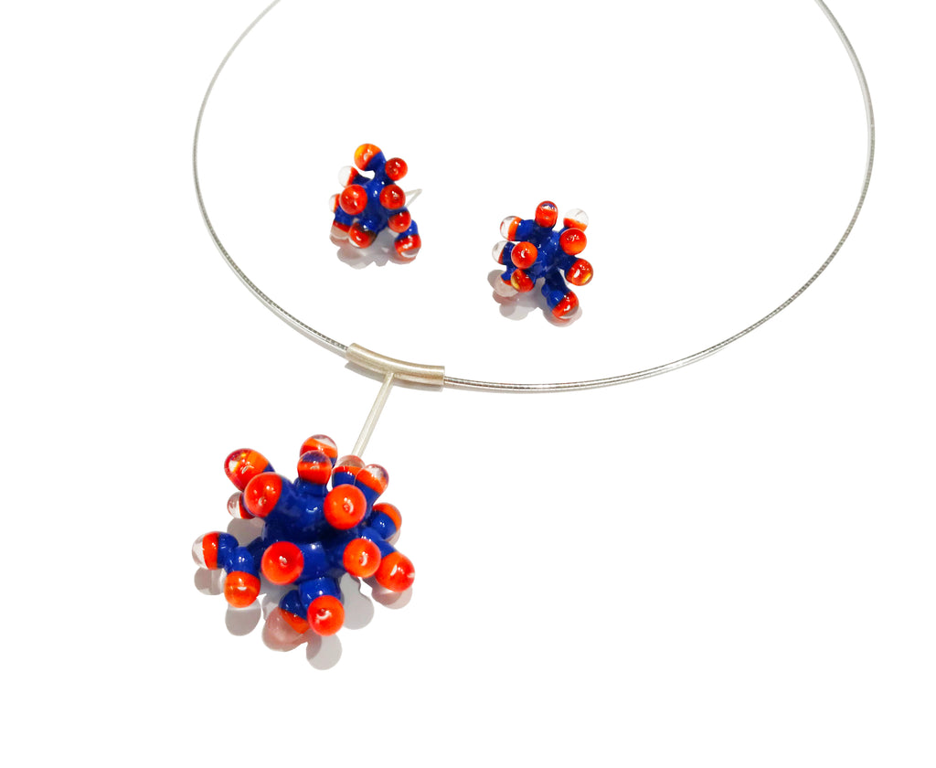 Blue and Orange Anemone Earrings (S)