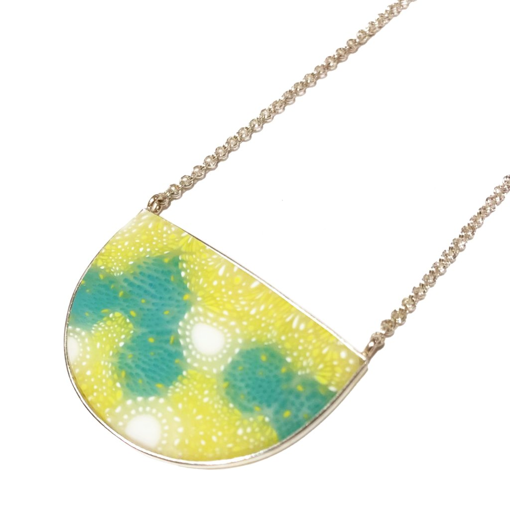Chartreuse and Turquoise Crescent Necklace