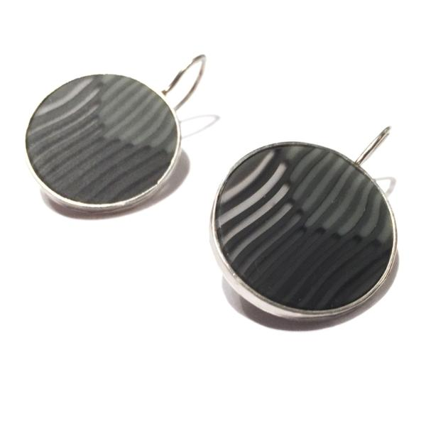 Grey Striped Silver Dangle Earrings