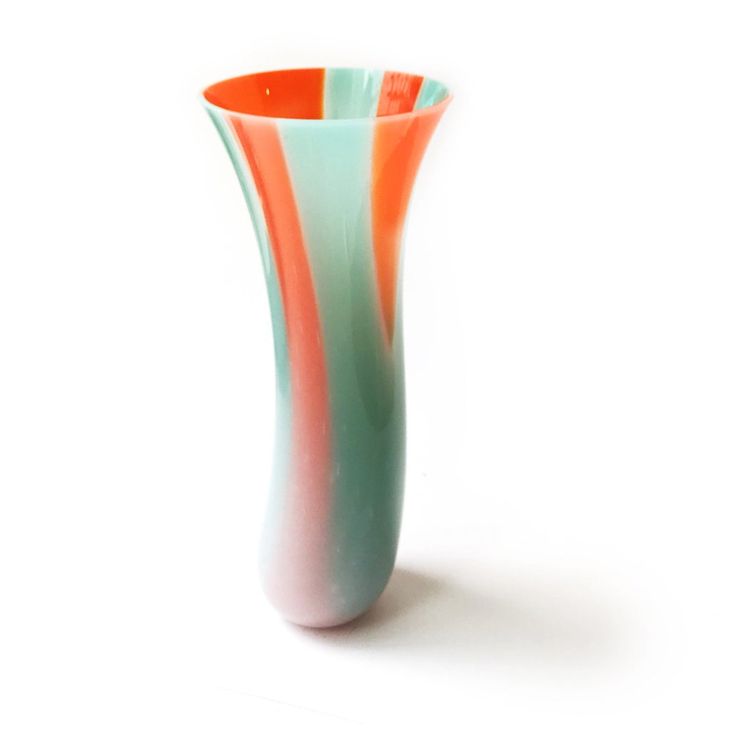 Orange and Turquoise Bud Vase