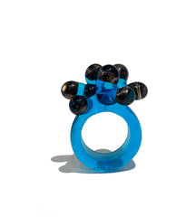 Turquoise and Opalescent Black Anemone Ring