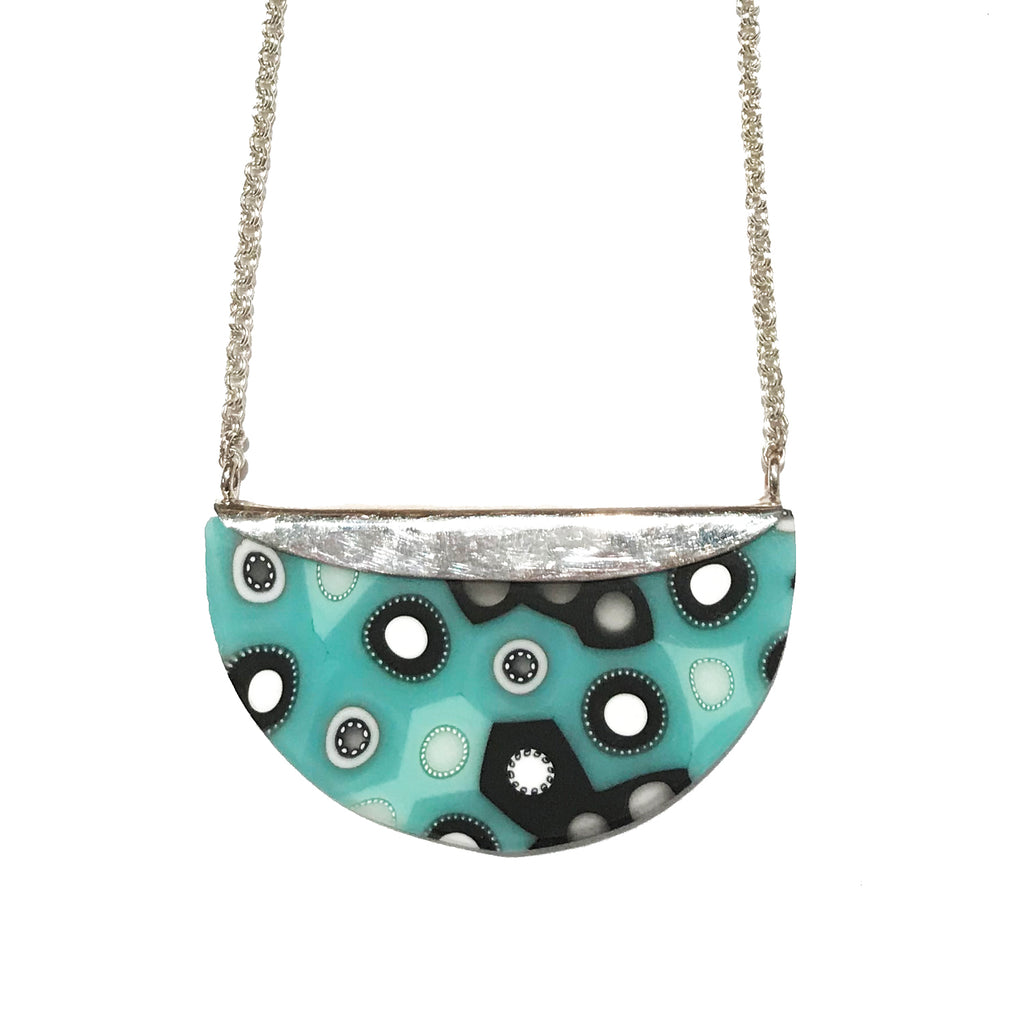 Mint and Black Crescent Necklace